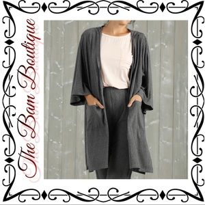 Plus Size Charcoal Ribbed Pocket Hooded Cardigan